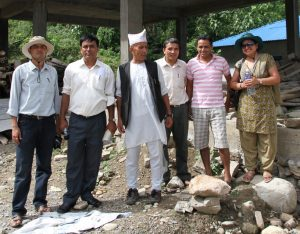 Prof. Bishnu, together with agricultural economist Hari Krishna Panta (fifth from left), horticulturist Kishor Chandra Dahal (not in the picture), and soil scientist Janma Jaya Gairhe (first from left), form a remarkable multidisciplinary team to provide farmers with technical assistance. The team often travels to the sites, usually on their motorbikes to reach even the most remote villages. Also in the picture are Ms. Sudha Nepal of NAR C (extreme right) and a farmer leader (third from left). (Photo: Joe Ibabao)