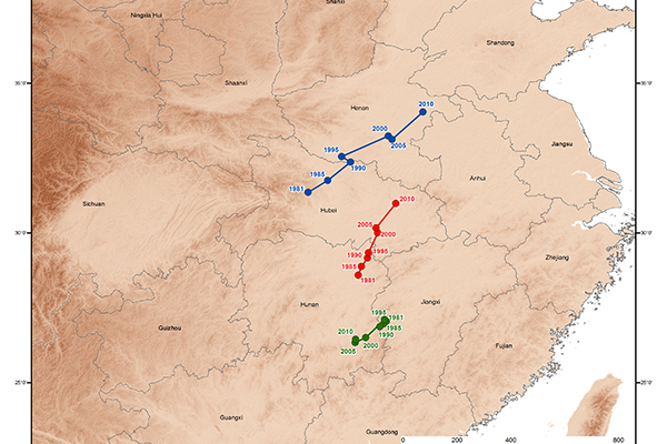 Shifts in the center of rice area in China from 1981 to 2010 for annual (red), single-cropped (blue), and double-cropped rice (green).