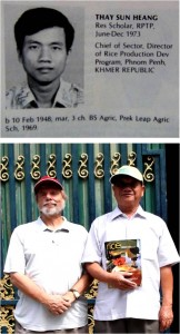 Thay Sun Heang, 1973 IRRI trainee who survived the Killing Fields then and now (above in 1973 photo appearing in IRRI Alumni book and at below right with Rice Today editor-in-chief Gene Hettel).