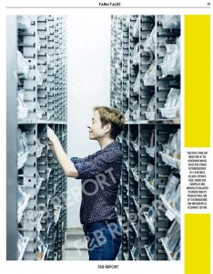 Dr. Hay checks seed packets at the International Rice Genebank. (Photo by RG Medestomas courtesy of F&B Report Magazine)