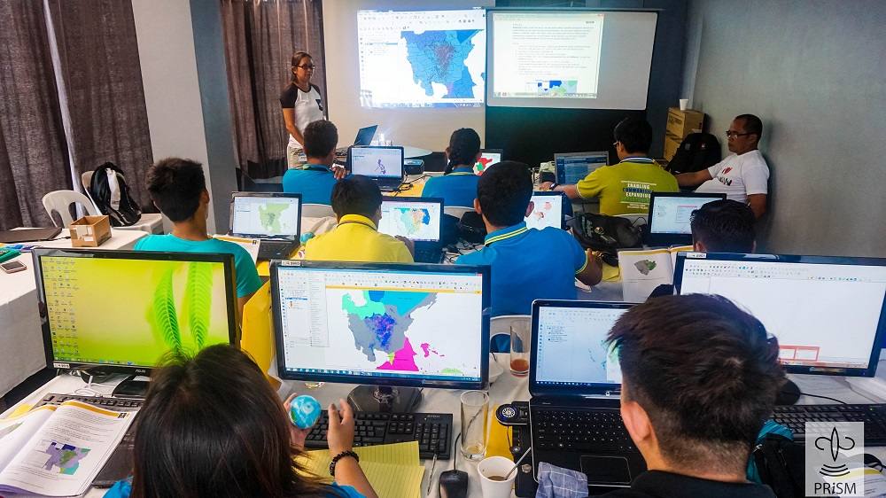 AGRICULTURAL FIELD officers undergo training in basic geographic information system, which enables the visualization of rice area and yield, GPS-based field observations, and other data generated by PRISM.