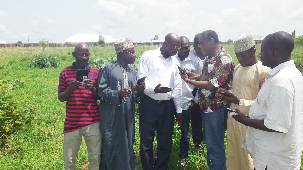 KOKOU AHOUANTON, AfricaRice research assistant (third from right), demonstrates how to use the RiceAdvice in Nigeria. (Photo by Phillip Onimisi Obosi, GIZ-CARI.)