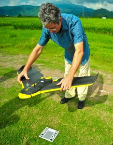 Preparing the drone-based platform for flight. (Photo by S. Klassen, IRRI)