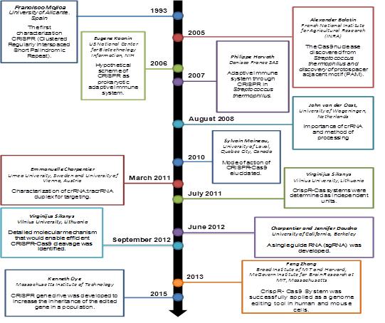 Timeline of CRISPR