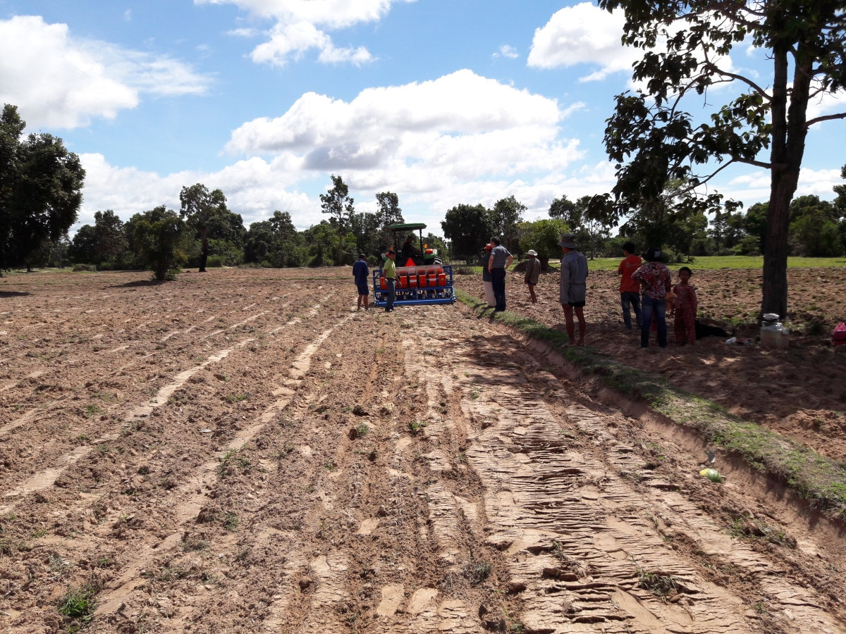 Leveling of fields means that rice farmers can control water level efficiently and consequently reduce the use of herbicides, thus giving wildlife a safer habitat . (Photo: WCS Cambodia)