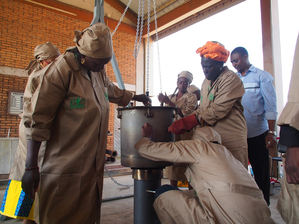 The GEM rice parboiling system is among the technologies promoted by the SARD-SC project through the innovation platforms in the rice hubs. (Photo by R. Raman, AfricaRice)