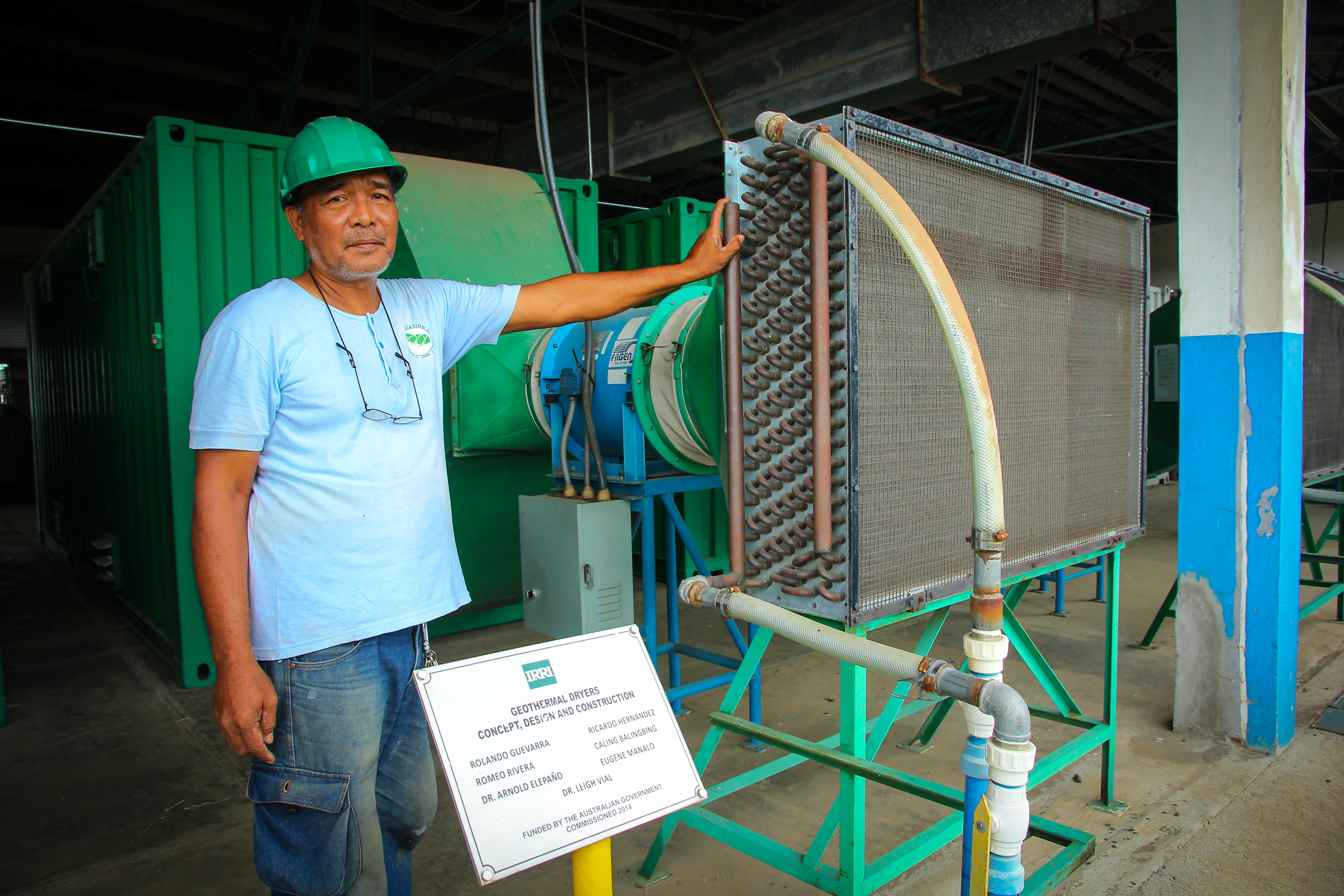 Mr. Guevarra, a mechanic and fabricator working at the Zeigler Experiment Station, was part of the team that conceptualized and designed the geothermal dryer. (Photo I. Serrano, IRRI)