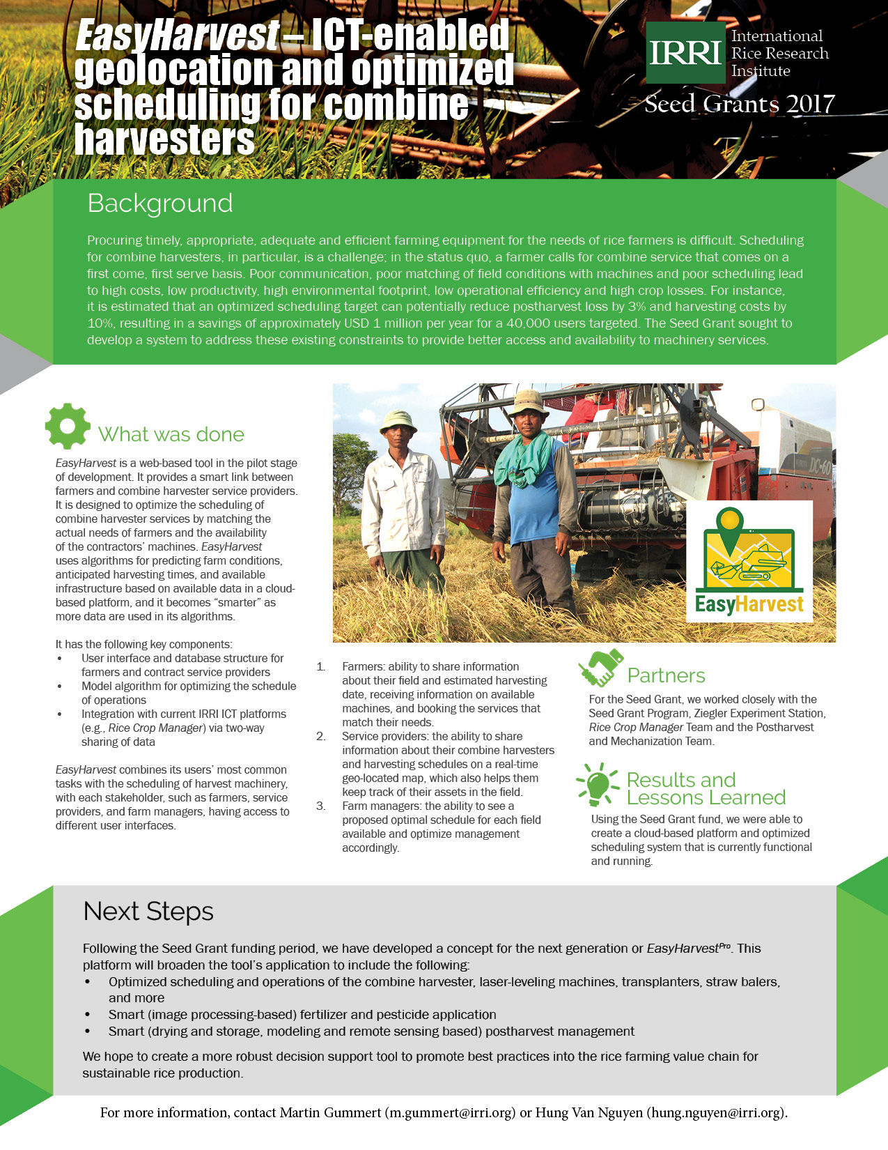 EasyHarvest – ICT-enabled geolocation and optimized scheduling for combine harvesters (Click to enlarge.)