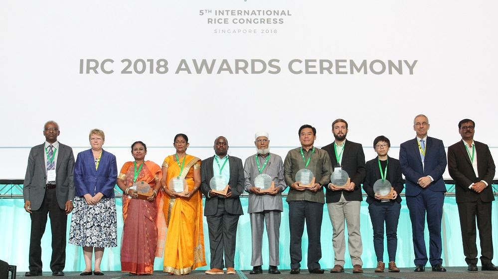 Dr. Bentota (in yellow) was one of the awardees selected for their innovative ideas and use of enabling technologies to contribute to a reliable supply of high quality, safe rice for a growing global population during the 2018 International Rice Congress.