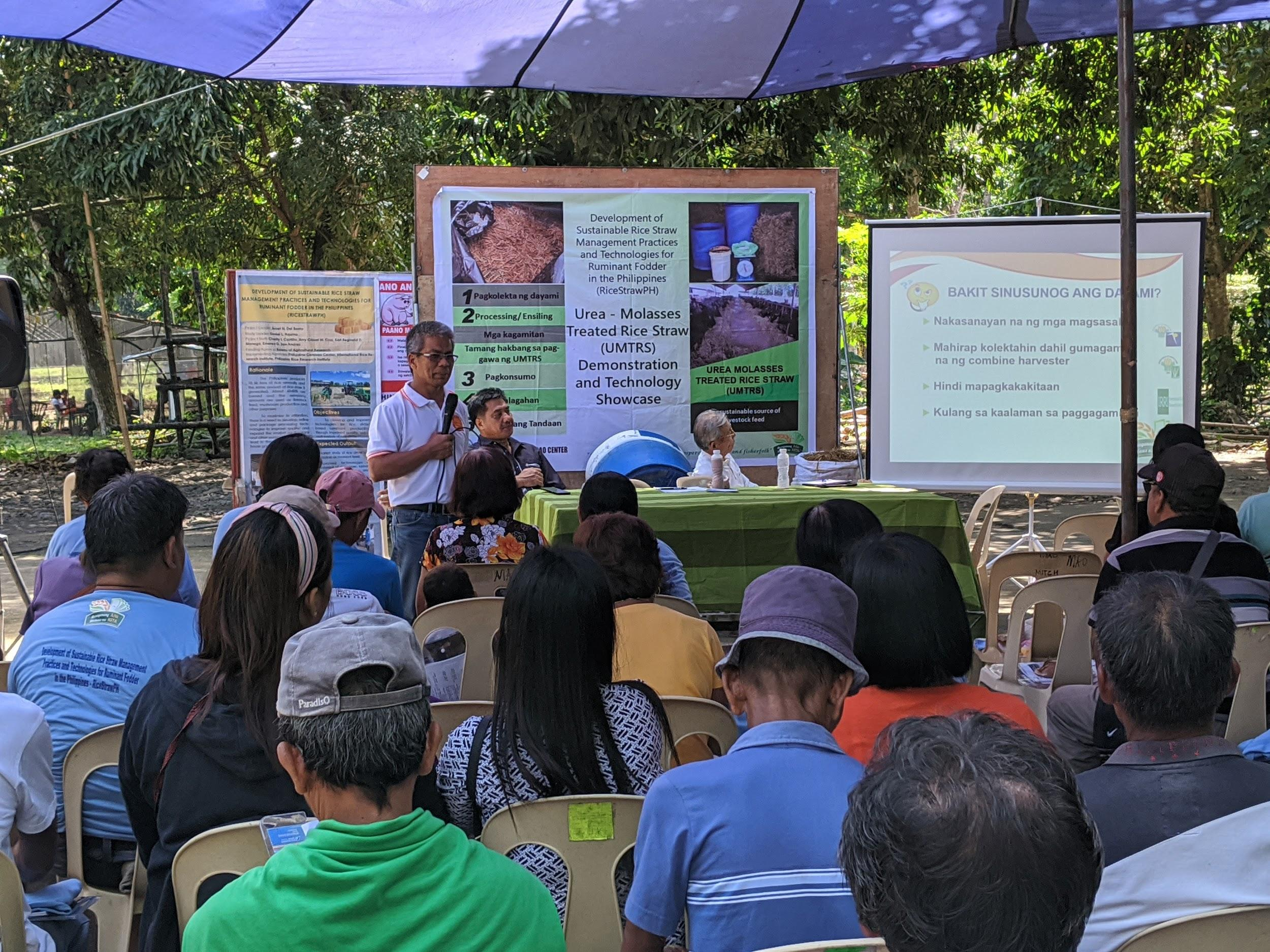 Dr. del Barrio presents an overview of the RiceStrawPH project. The project aims to develop optimal, localized, and sustainable rice straw management solutions in the Philippines. (Photo: IRRI)